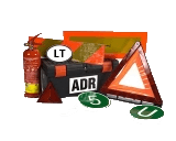Warnings, extingueishers, ADR sets, first-aid kits